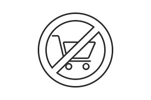 Forbidden sign with shopping trolley linear icon