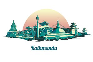 Kathmandu city illustration