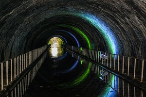 Spooky lighting in canal tunnel
