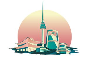 Seoul city illustration