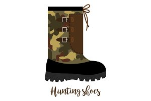 Hunting shoes icon with text
