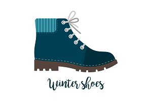 Winter shoes icon with text