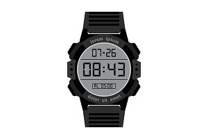 Black digital hands watch for men