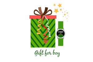 Gift box for boy with watch
