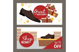 Men shoes horizontal flyers for advertising