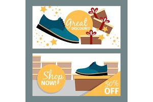 Men summer blue shoe store flyers