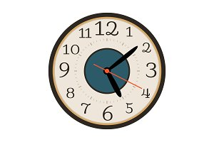 Modern wall clock isolated on white