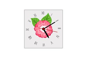 Square wall clock with pink flower