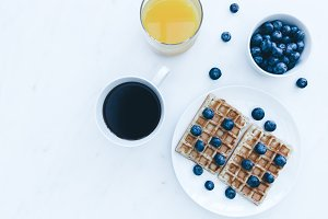 Blueberry waffles breakfast coffee