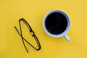 Reading eyeglasses + coffee