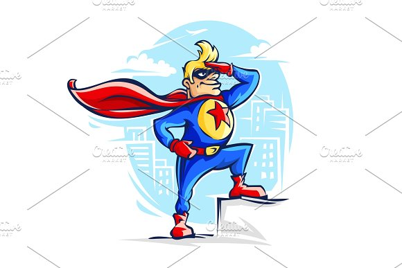 Brave Superhero Man In Costume With Red