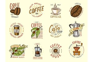 Set of coffee logos, badges. Vector.