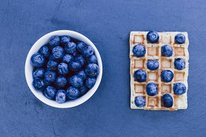 Blueberries waffles breakfast