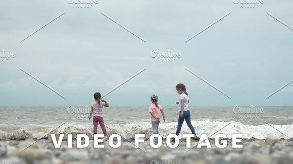 Children Plays With High Waves Of Sea Batumi Georgia