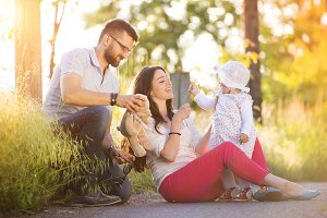 Happy family in the nature.