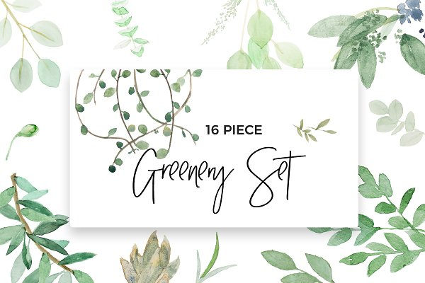 Watercolor Botanical Spring Set