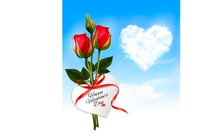 Heart cloud and red flowers. Vector.