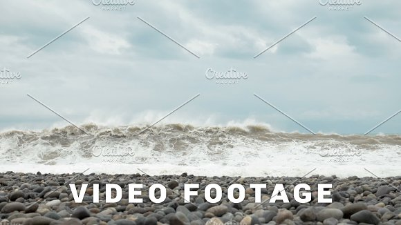 High Waves Of The Black Sea Batumi Georgia