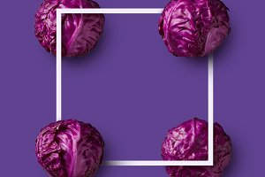 frame of purple cabbage presented in