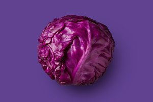 purple cabbage isolated on purple background