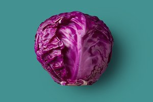 one head of raw red cabbage