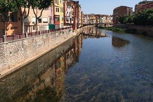 Gerona Town, Catalonia, Onyar river