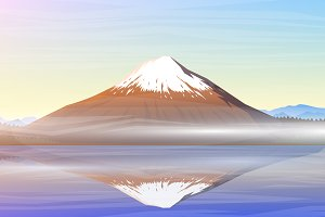 Mountain Fuji, morning panoramic.