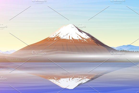 Mountain Fuji Morning Panoramic