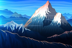 Mountain Everest, Evening Landscape.