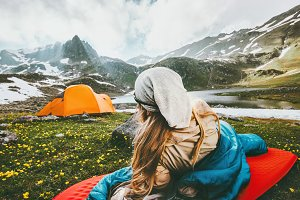 Camping traveling woman relaxing