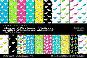 Paper Airplanes Digital Papers Neon