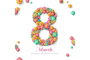 Eight March with paper cut flowers