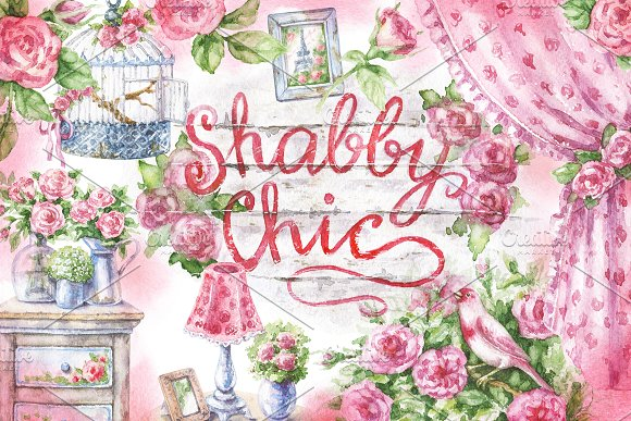 Watercolor Shabby Style Decor Items