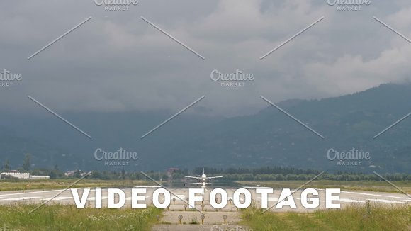 Airplane Takes Off From The Airport In Mountains Georgia