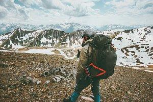 Man traveler with big backpack