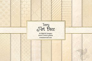 Ivory Art Deco Digital Paper