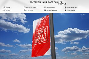 Rectangle Lamp Post Banner Mock-Up