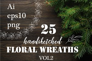 25 handsketched wreaths. VOL2