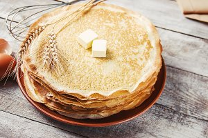 Crepes are homemade. Pancakes. Selec