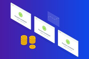 Payment successful isometric