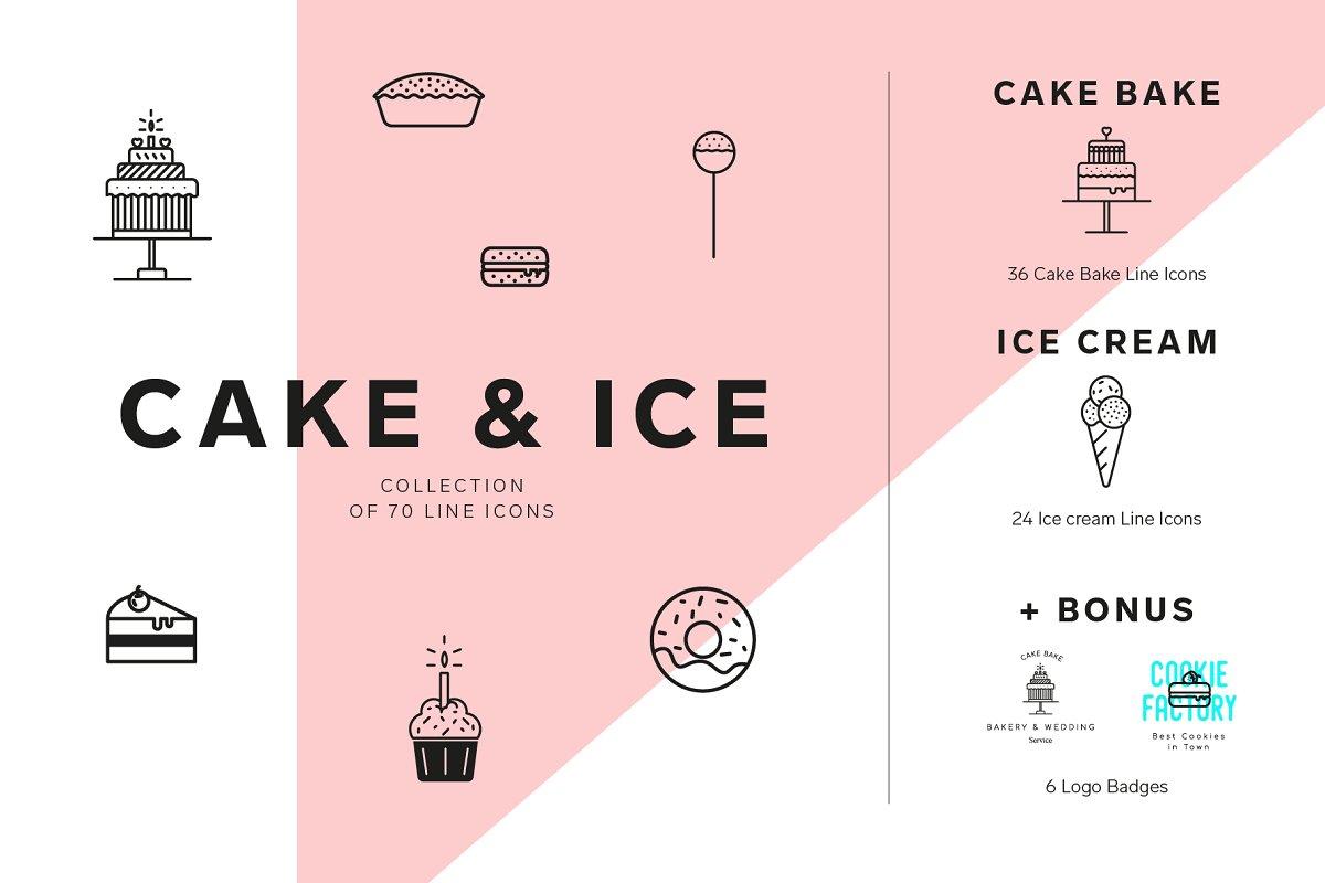 Cakes and Ice cream icon set