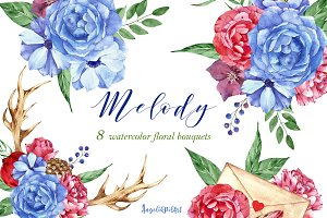 8 Watercolor  flowers  bouquet