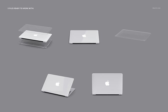 Macbook Clear Case Mockup Set in Product Mockups - product preview 2