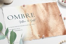 Watercolor Ombre Yellow & Gold