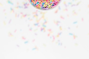 Colorful Pastel Sprinkles in a Cup