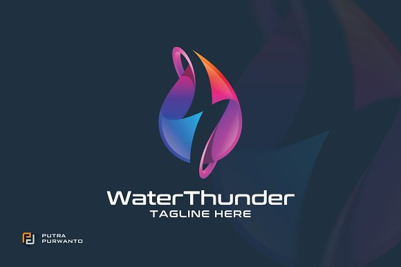 Water Thunder Logo Template