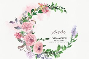 Watercolor Blush Rose Wreath Clipart
