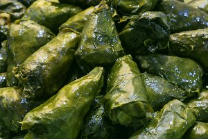 Grape vines leaves stuffed with meat