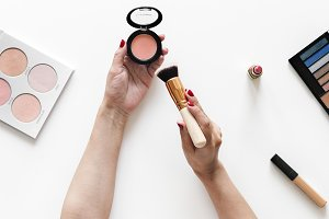 Beauty blogger testing cosmetics