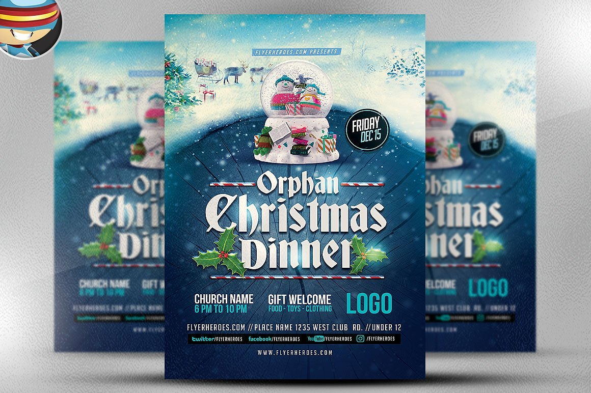 orphan christmas dinner flyer flyer templates creative market